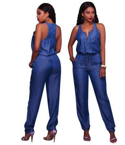 31596c7cd116 2019 2018 New Women Denim Jumpsuits   Rompers Fashion Slim Casual ...