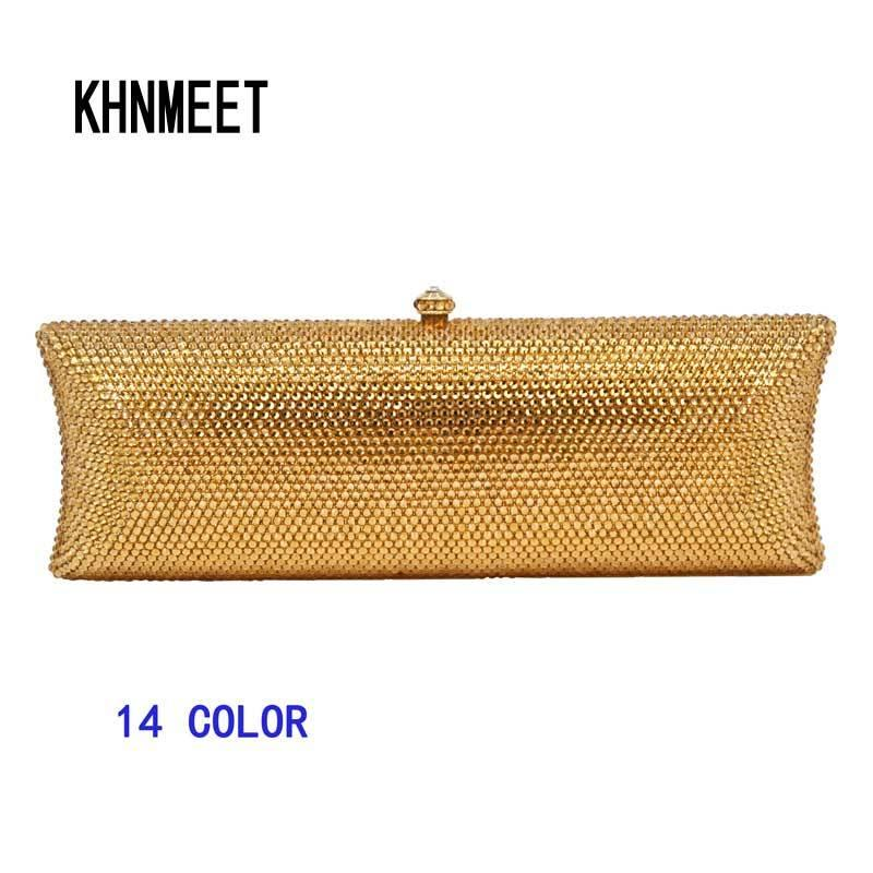 Luxury Fashion Full Crystal Evening Clutch Bag Sparkly Gold Long Designer  Pochette Wedding Party Purse Bag Banquet Bag Y18103004 Designer Bags Ladies  ... 5d3788da61d1