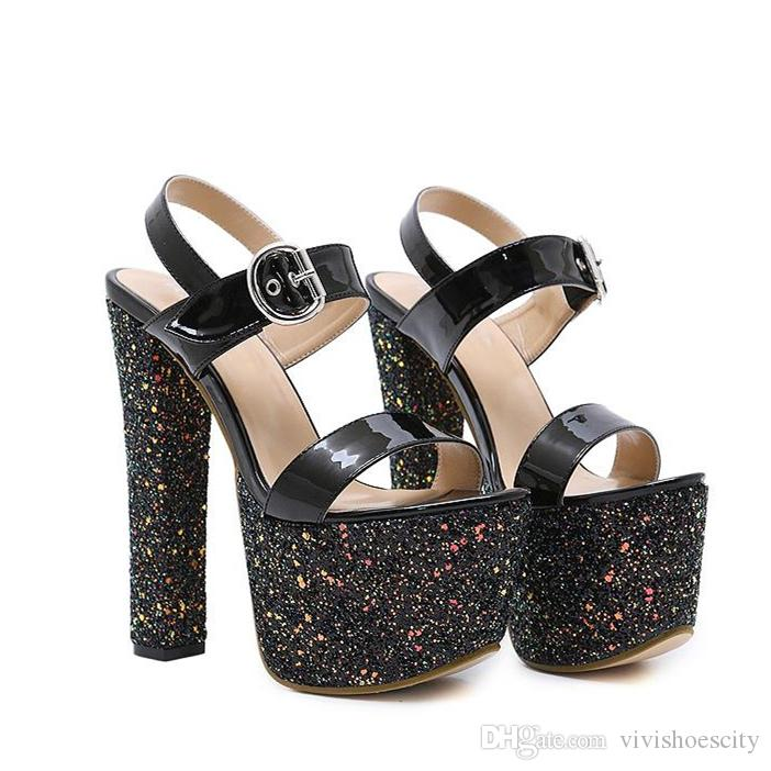 9c92a4b805dd 16cm Super High Platform Chunky Heels Glitter Sequined Patent PU Leather  Shoes Nightclub Party Wear Size 35 To 40 Heels Shoes Online From  Vivishoescity