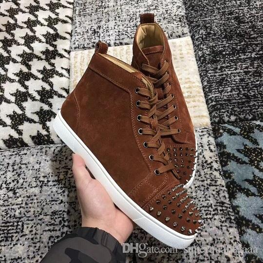 098823f0f28d Famous Name Brand High Top Sneakers Spikes Toe Genuine Leather Women ...