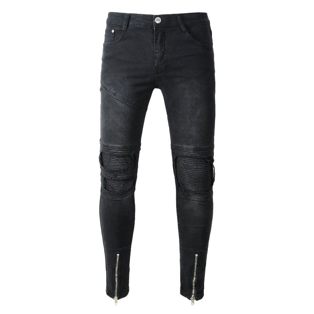 dcebb8002c2 2019 Wholesale New Black Ripped Jeans Men With Holes Super Skinny Famous  Designer Brand Slim Fit Destroyed Torn Jean Pants For Male From Vanilla03,  ...