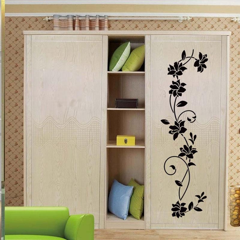 블랙 DIY 꽃 꽃 덩굴 벽 스티커 비닐 아트 벽화 홈 거실 장식