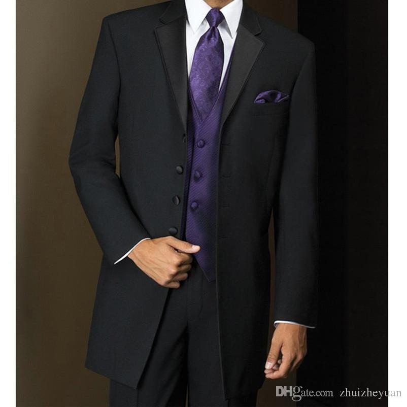 e0adc57131b 2018 New Design Long Black Mens Business Suits Groom Wear Four Buttons  Custom Made Cheap Wedding Suits (Jacket+pants+Vest )