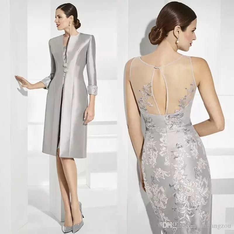 731418eb86 Elegant Silver Lace Mother Of The Bride Dresses With Long Sleeves Satin  Jacket Sheer Wedding Guest Dress Knee Length Cheap Evening Gowns Mother Of  Groom ...
