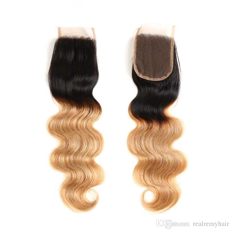 Ombre vague de corps T1B / 27 # faisceaux de cheveux humains blonds foncés de racine de miel avec la fermeture de dentelle armure brésilienne colorée de cheveux avec la fermeture