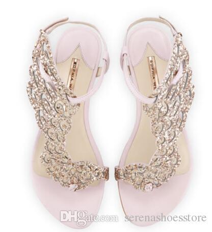 Brand Designer Sandals Women 10mm Seraphina Leather& Suede Flats Metallic Wing Heels Gladiator Open Toe Flats sandals