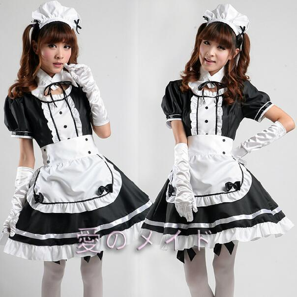 Sexy costume da cameriera francese Sweet Gothic Lolita Dress Anime Cosplay Sissy Maid Uniforme Plus Size Costumi di Halloween per le donne