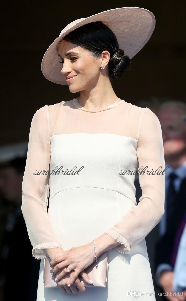 2019 nouveaux événements britanniques royaux britanniques Meghan Markle élégante en mousseline de soie blanche et robe de soirée colorée sur mesure robes de célébrités Occasion spéciale