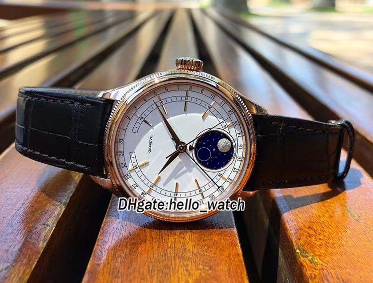 Bon marché neuf 39mm cellini moonphase 50535 m50535 cadran blanc Mens automatique Montre Rose Gold Case En Cuir Strap Sapphire Montres Hello_Watch