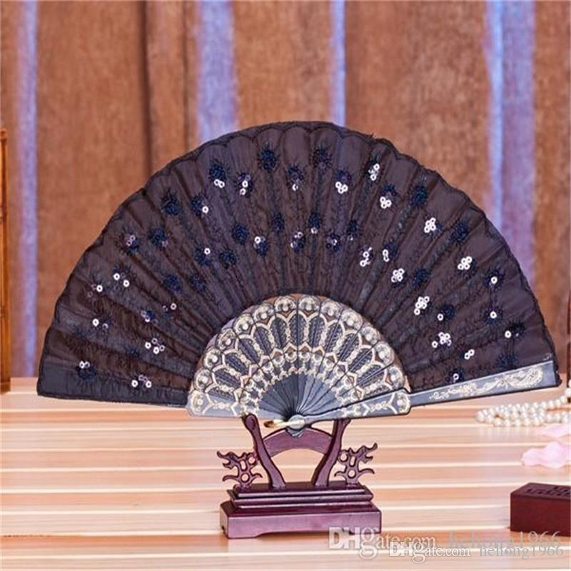 Woman Dance Fans Multicolor Paillette Peacock Feather Pattern Fold Fan Table Decoration Artware Popular Eco Friendly 2 5sz ff