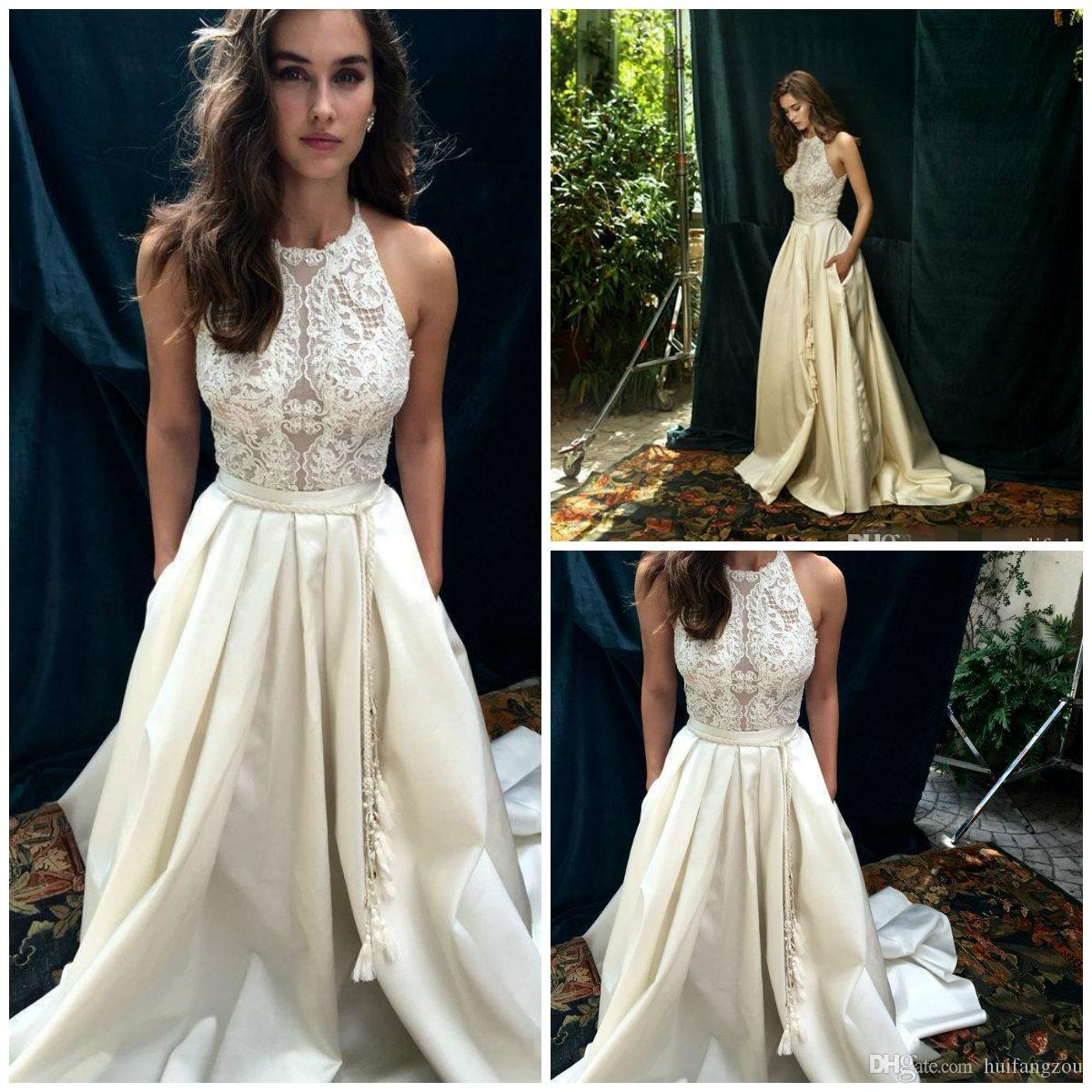Discount 2018 Halter Neck Wedding Dresses Summer Sleeveless Lace ...
