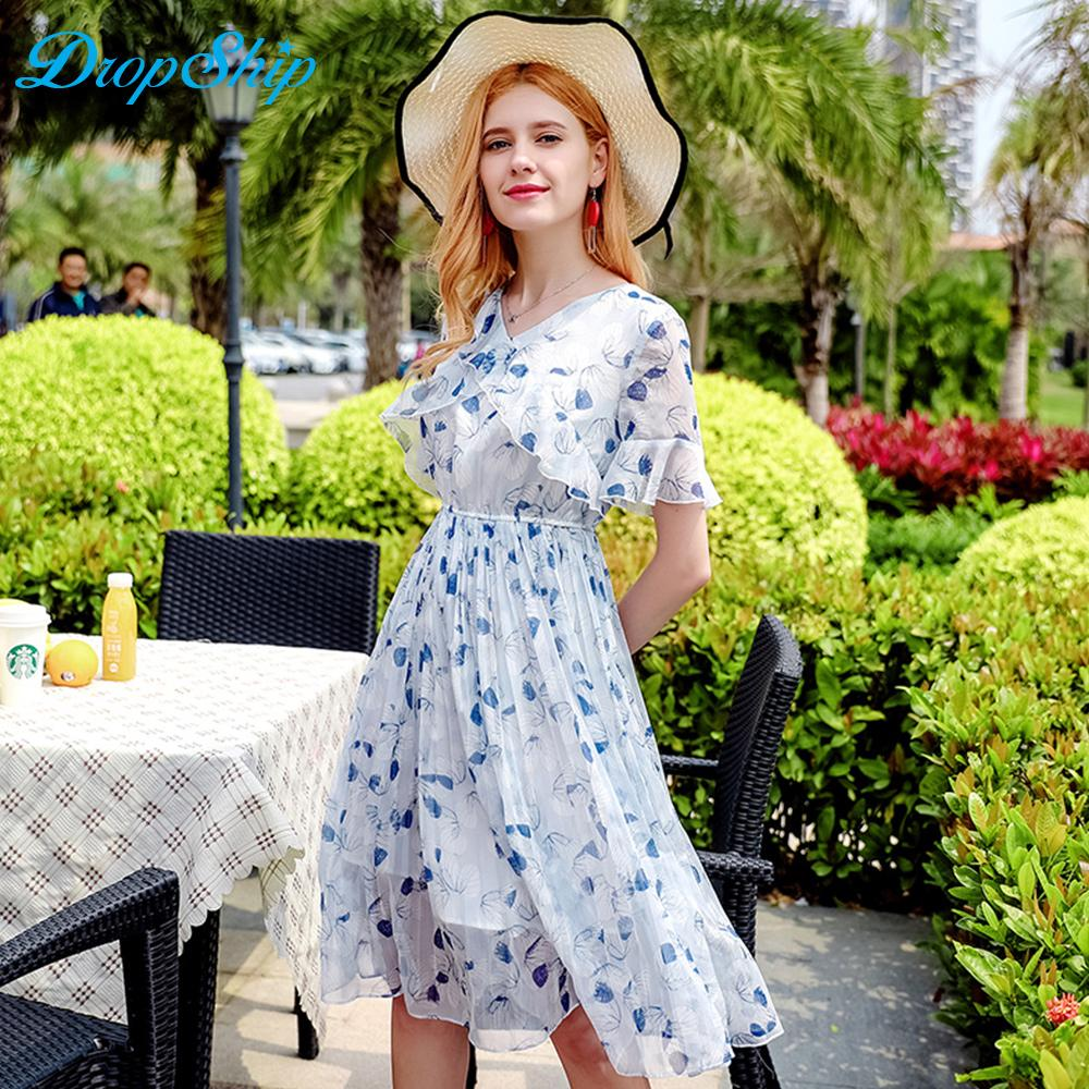 494b00e585ef5 Sexy V Neck Bell Sleeve Dress Women Mid Waist Ruffles Midi Dress Summer  2018 Elegant Chiffon Printing Pleated Vestidos White Evening Dresses Long  Black ...