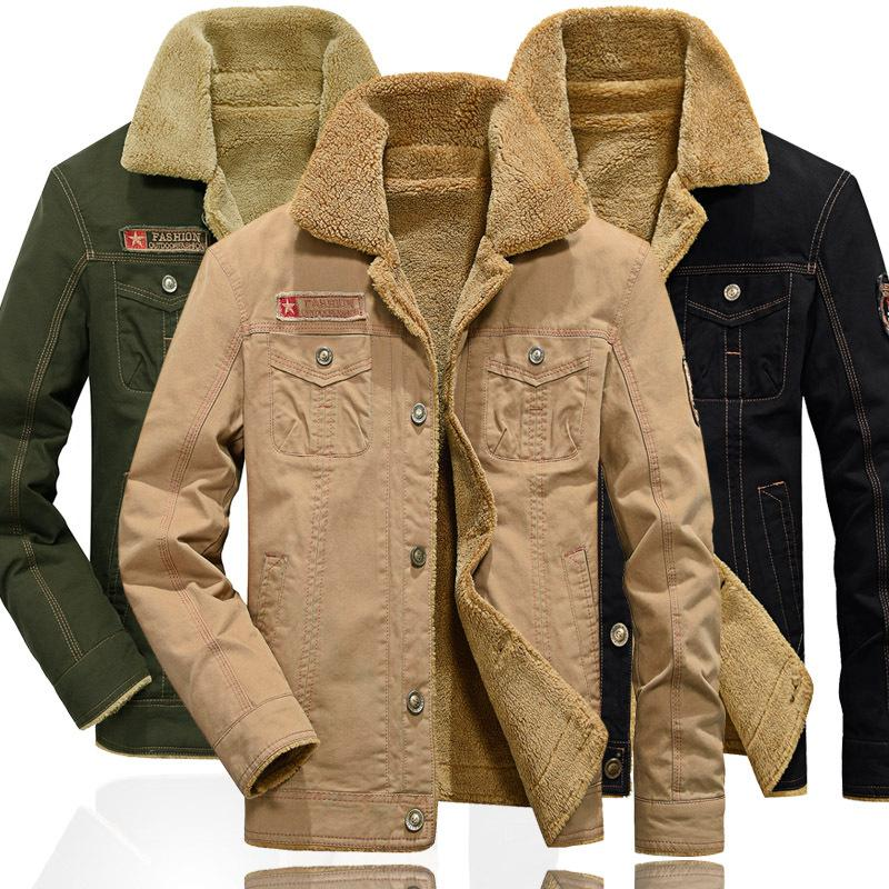 3ff4849cb6163 Men s Winter Plus Size Thicken Fleece Jackets Coats Cotton Fur Collar  Jackets Military Casual Male Outerwear M 5XL Men s Outerwear Fleece Jacket  Jacket ...
