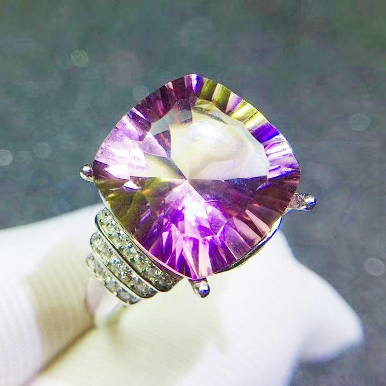 5812cc6b7a36 Anillo de ametrino 925 joyería de plata fina 11 * 11mm 6.5CT piedra  preciosa grande Joyería hecha a mano fina Mujeres anillos # JC18073112
