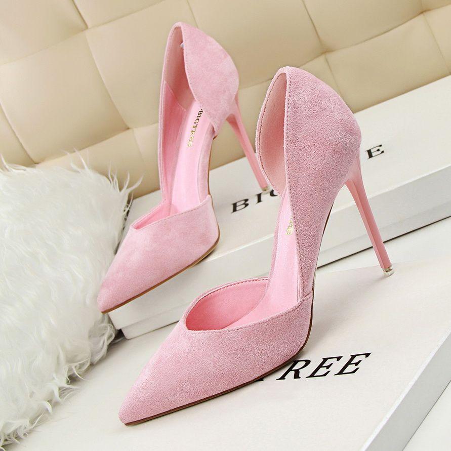 43e3e2f34687 Women Pumps Fashion Sexy High Heels Shoes Women Faux Suede Pointed ...
