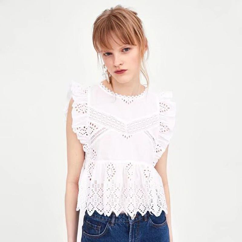 820d4348d44f4 2019 Women Elegant Sleeveless Summer Blouses Sexy Hollow Out White Lace  Blouse Shirt Female Casual Long Sleeve Tops Blusa From Yujiu