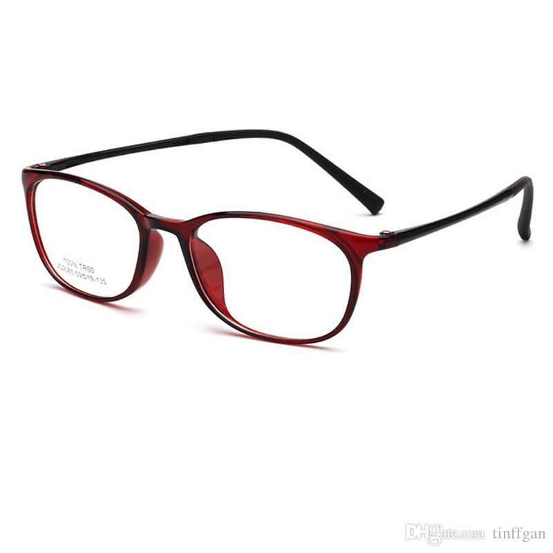 9e3dc506d Compre 2018 Praça Muito Leve TR90 Armações De Óculos Dos Homens Das Mulheres  Estudante Óptico Espelho Simples Lente Óculos De Armação De Óculos Para  Miopia ...