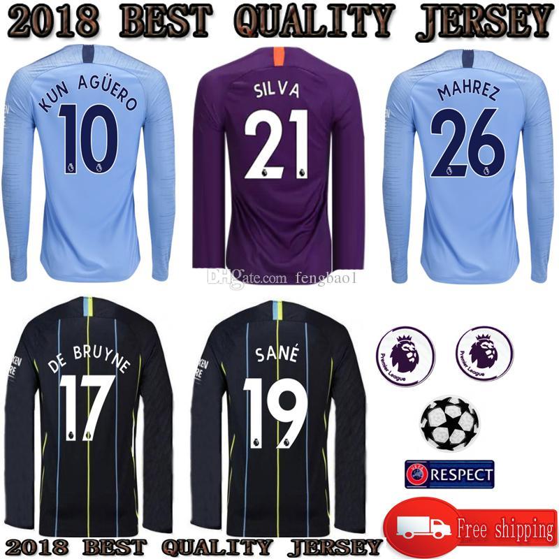Long Sleeve 2018 2019 Manchester City Long Sleeve Jerseys HOME AWAY ... 4cab59566c64d