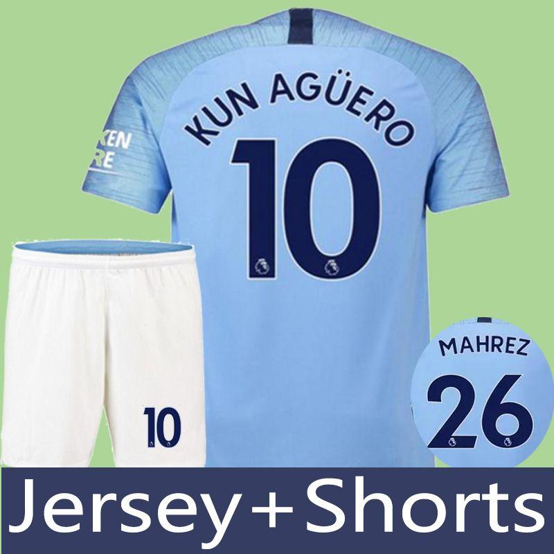 18 19 Mahrez JERSEY+SHORTS City KUN AGUERO De Bruyne Soccer Jerseys ... a9e3733c7