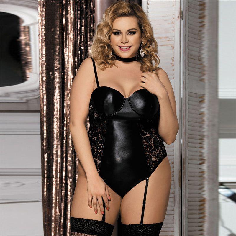 4cef47c83 Outlet Lingerie Plus Size 5XL 6XL Mulheres Sexy Lingerie De Couro Quente Lingerie  De Renda Mini Vestido Trajes Eróticos Babydoll D18110902 Camisolas Curtas  ...