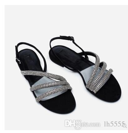 ddabce0d3d10 Sandals Female Summer 2018 New Flat Bottom Low Heel Rhinestone Word Buckle  With Open Toe Suede Flat With Comfortable Roman Sandals Salt Water Sandals  ...