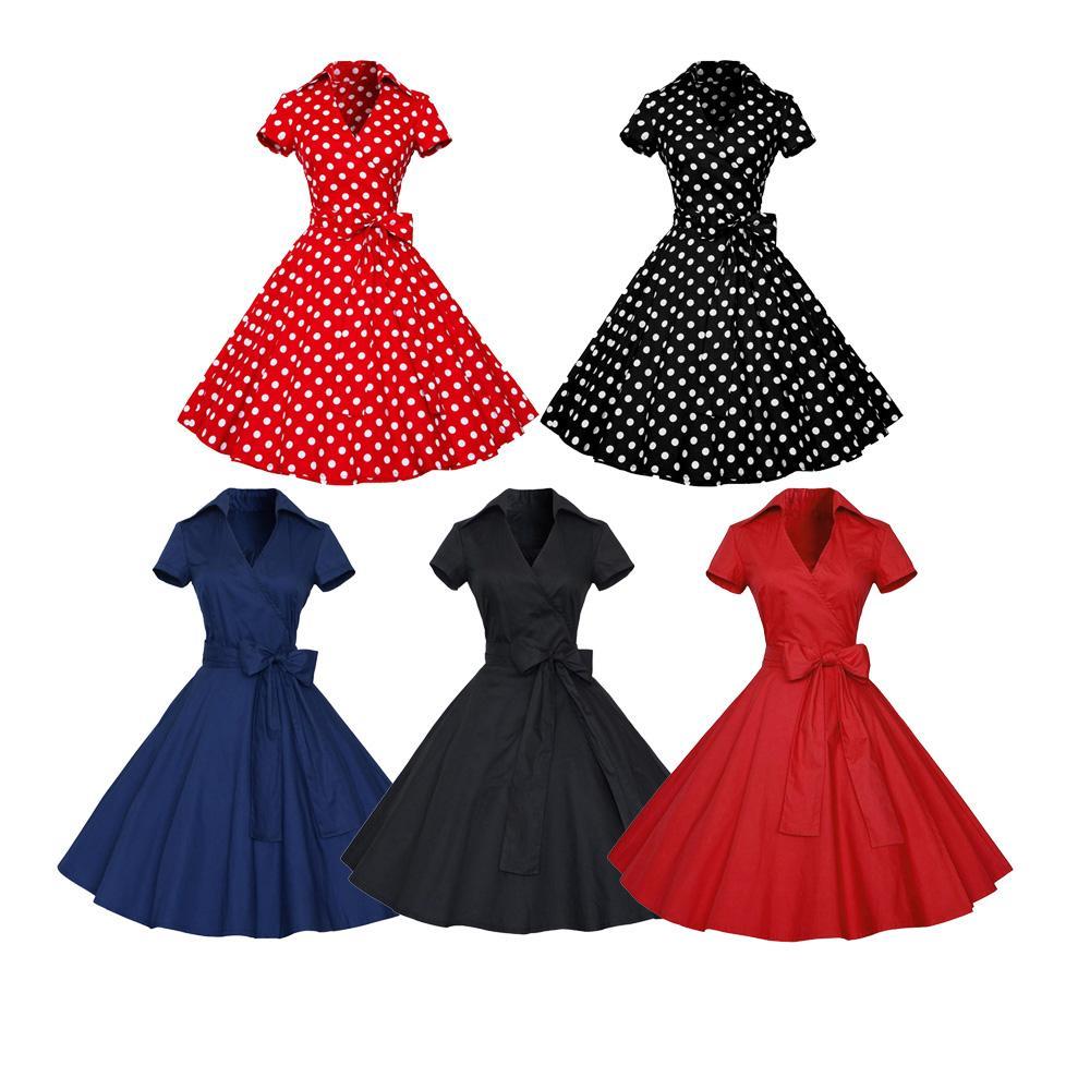 e7a94ee48756 Kenancy Frauen Rockabilly Kleid Retro PinUp Hepburn V-Ausschnitt Bogen  Ballkleid Tunika Swing Frau 50er Jahre 60er Jahre Gürtel Kleider Feminino  ...