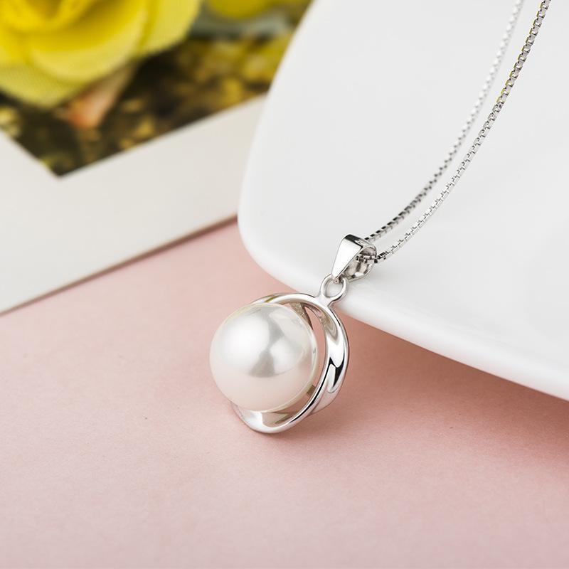 S925 Sterling Silver Anodonta Pérola Pingente de Graça Para As Mulheres Presente de Colar De Casamento de Prata Dourada Charme Jóias Sem Correntes