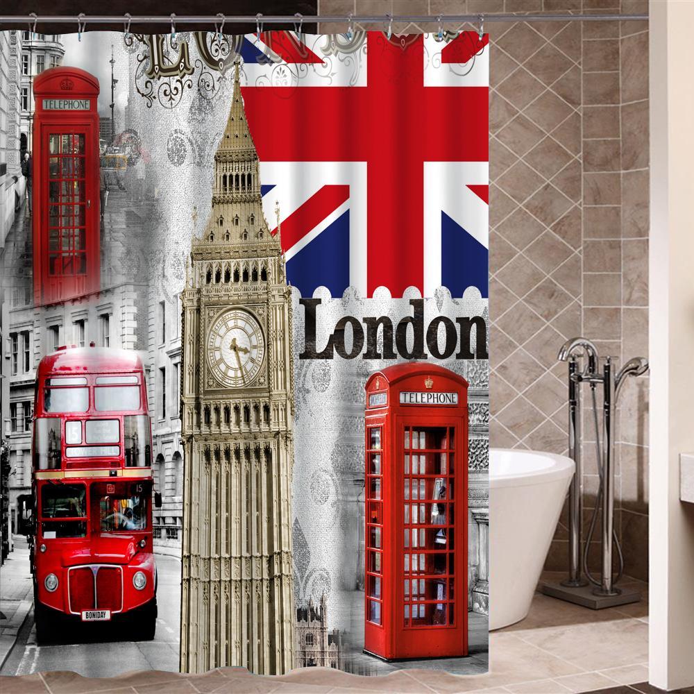 2019 London Flag Vintage Durable Fabric Curtain For Bedroom Bathroom