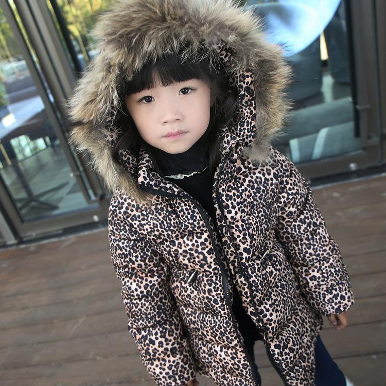 2017 Winter Toddler Kids Snowsuit Children Clothing Boys Girls Leopard Thick Parka Jacket Hooded Faux Fur Coat