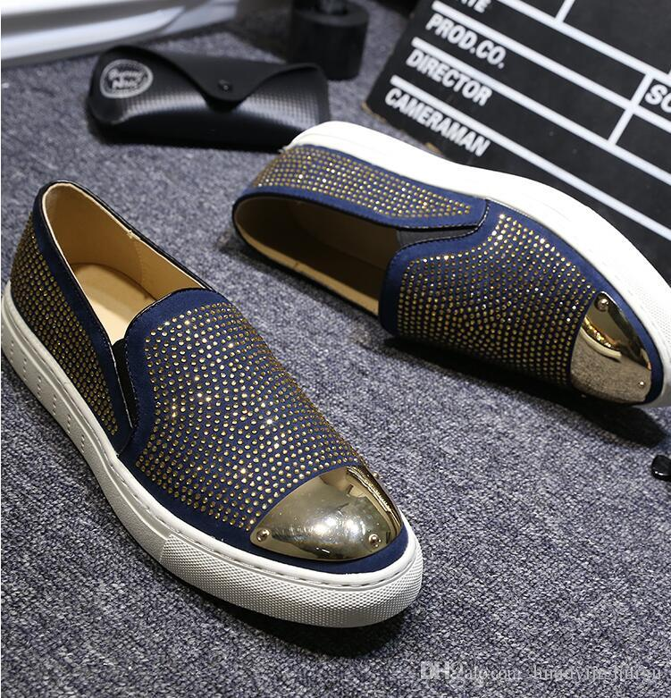 2018 New style Strass Men Loafers Black Suede Crystal Rhinestones Slippers Party Wedding Dress Shoes Men's Flats Leather Many N180