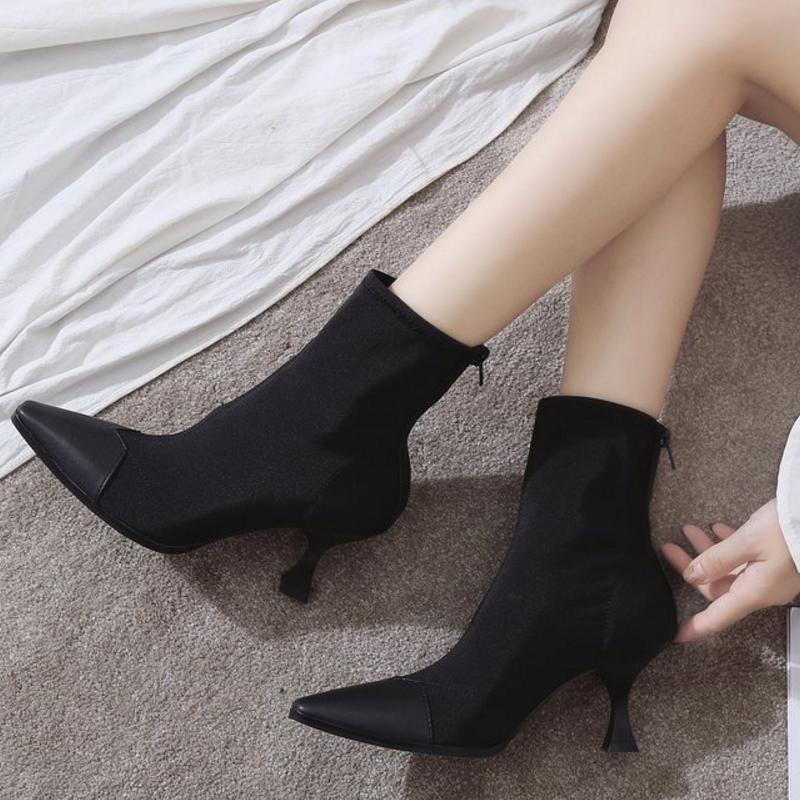 cc93f676186b7 Fashion Elastic Sock Ankle Boots Chunky High Heels Stretch Women Autumn  Sexy Booties Pointed Toe Women Pumps Boots Heels Boot From Designshoes777,  ...