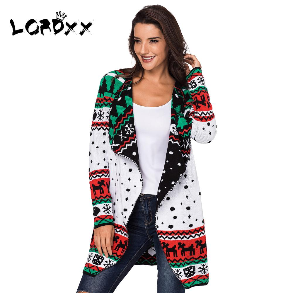 2018 lordxx cardigan women christmas sweater plus size long sleeve jumper knitted sweaters overcoat ladies winter fashion 2018 from duixinju