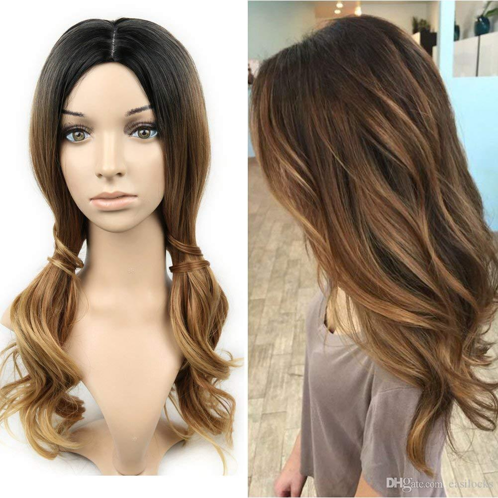 synthetic long natural wavy hair wigs ombre color wig heat resistant