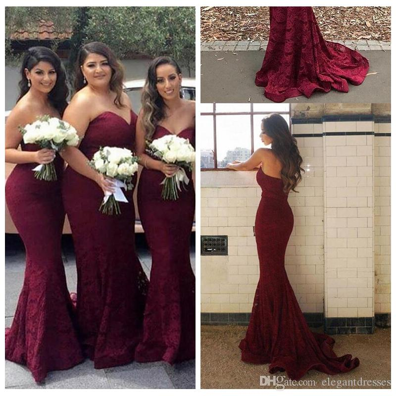 b1ff67d1d2b Sexy Sweetheart Burgundy Lace Mermaid Cheap Long Bridesmaid Dresses 2018  Wine Maid Of Honor Wedding Guest Dress Prom Party Gowns Bridesmaids Dress  Patterns ...