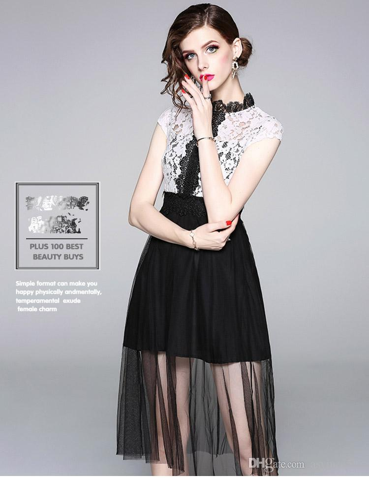 05ec568edc13 2019 Nice Mesh And Lace Patchwork Summer Dresses Of Women