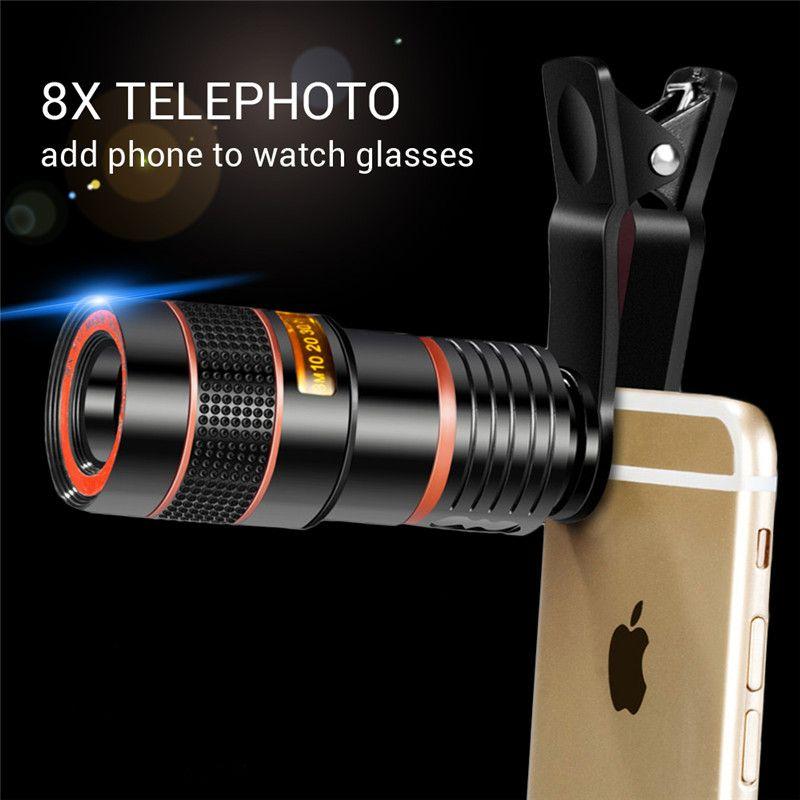 8X Zoom Teleskop Lens Telefon Lens evrensel olmayan Optik Kamera Telefoto telefon len ile iphone Samsung LG HTC Sony Smartphone için klip