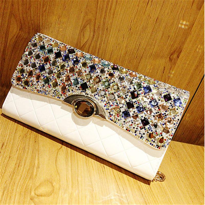 QIAOBAO Banquet party bag high-end clutch bag hand-held diamond-studded shoulder oblique cross-hand grasping color diamond bag