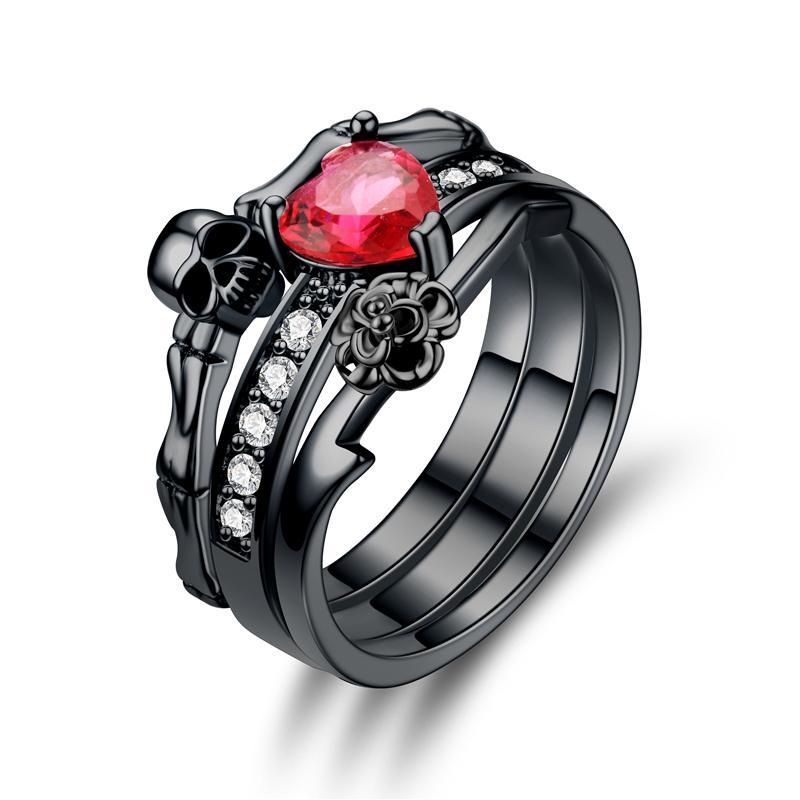 Skull Ring Black Red Crystal Zircon Women S Wedding Ring Punk Jewelry UK  2019 From Lotusnut 4672a1163e