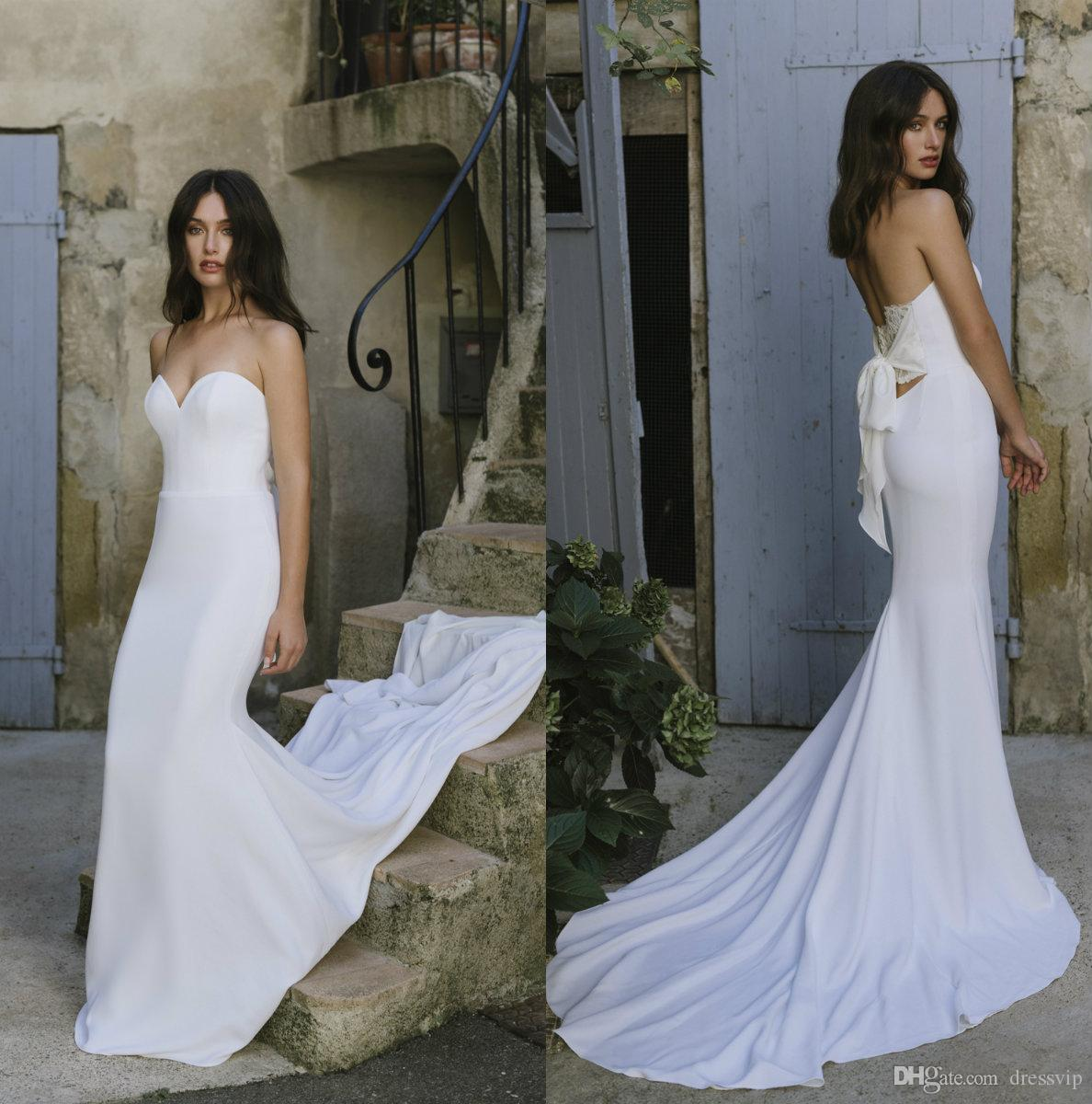 95cdda21a8 2019 Lihi Hod Wedding Dresses Sweetheart Court Train Sexy Lace Back  Sleeveless Soft Satin Mermaid Wedding Dress Plus Size Bridal Gowns Cheap Wedding  Gowns ...
