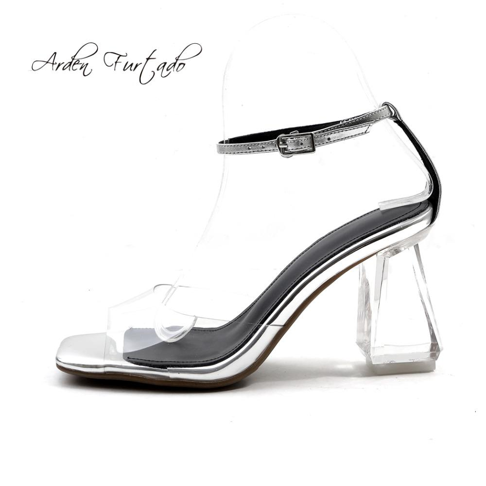 68d08d73430f9b Arden Furtado 2018 Summer Woman Clear Pvc Buckle Strap Peep Toe Fashion  Shoes Chunky Cow Genuine Leather High Heels 8cm Sandals Saltwater Sandals  Designer ...