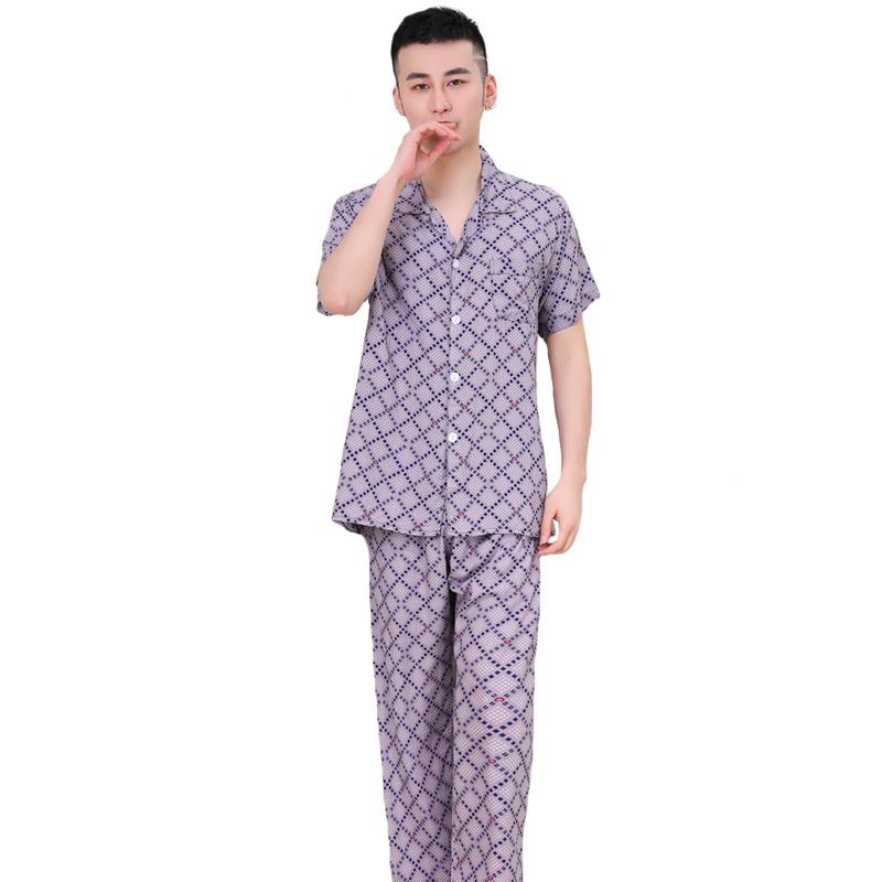 a54197633d 2019 Printed Men Pajamas Pyjama Set Summer Short Sleeve Home Wear Plus Size  XXXL Cotton Sleepwear Loose Nightwear Loungewear From Amandal