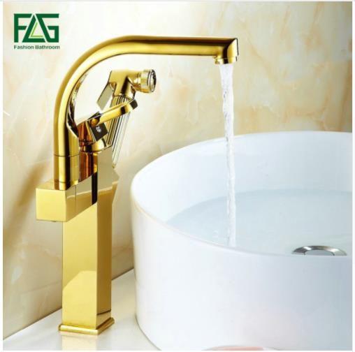 Gold Kitchen Faucet Platform Heightening Dual Sprayer Swivel Spout
