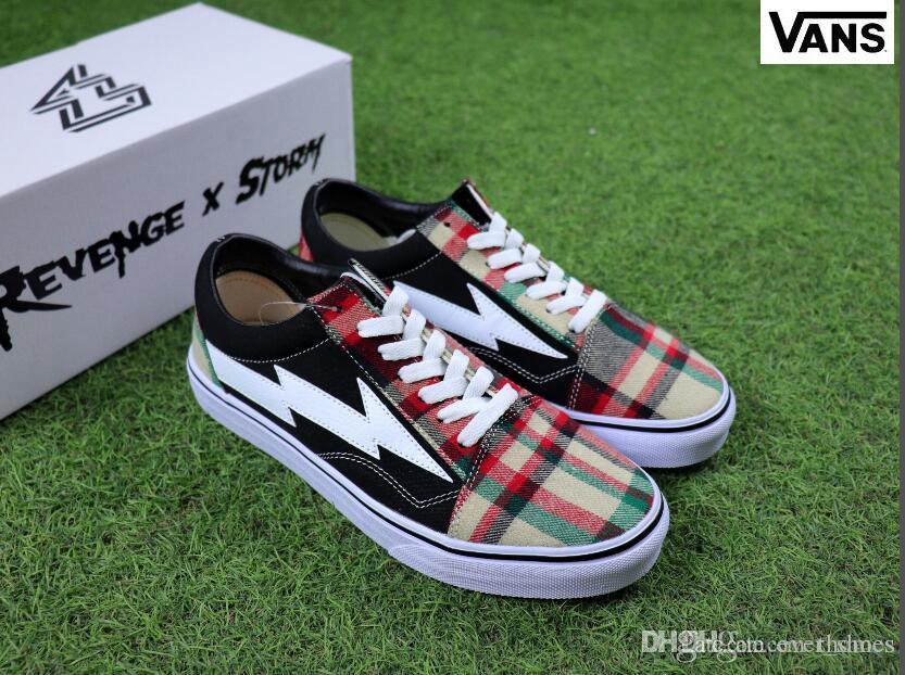 sast low cost for sale 2018 Revenge X Storm Old Skool Plaid Scottish style Skateboarding Shoes Women And Mens FOREST GREEN Red Black Sneakers 36-44 Jc376X3v4