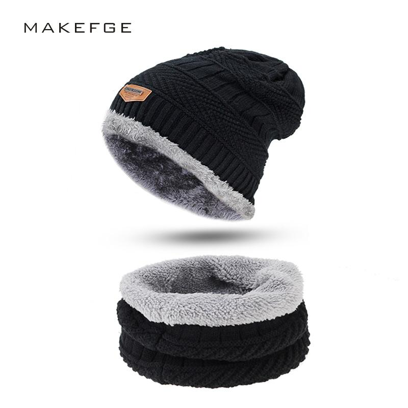 Men Winter Slouchy Beanie Hat Scarf Set Women Lined Thick Knit Skull Cap  Thick Warm Wool Knitted Hat And Scarf Winter UK 2019 From Godefery ee4a4a9f54