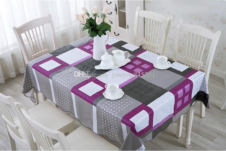 Masa Örtüsü Kahve Baskılı Masa Örtüsü Yerleşimi Yemek Kaliteli Mor PVC Masa Örtüsü Plastik Su geçirmez Yağı