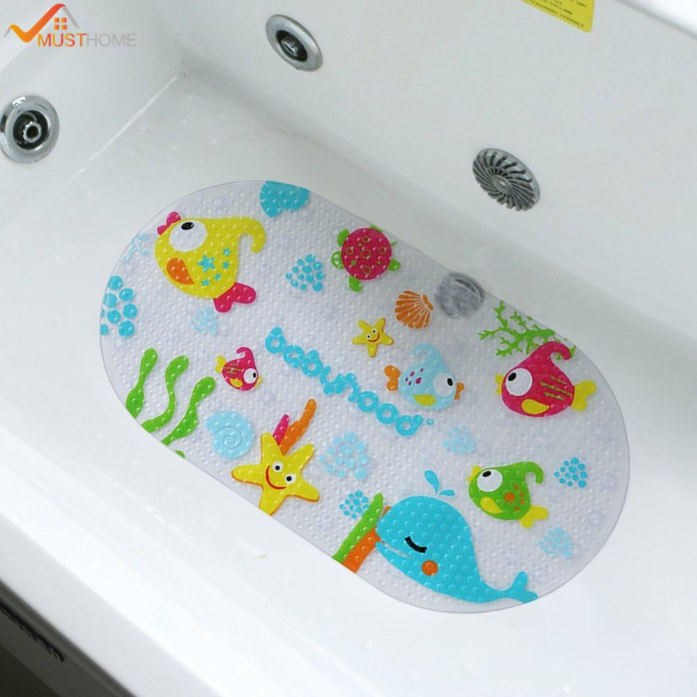 2018 39cmx69cm Non Slip Bath Tub Mat Kids Tub Or Shower Floor Mat ...