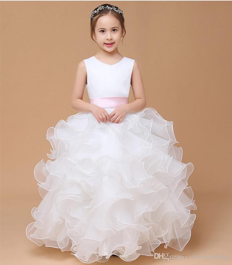 9e0f96978 Organza With Ruffles Ball Gown Flower Girl Dress 2019 Floor Length Girls  Dresses For Wedding New Kids Prom Gown Girls Formal Wear Girls Ivory Dress  From ...