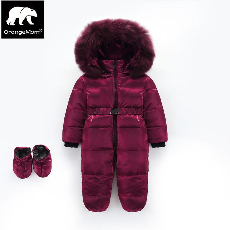 da1309eb1c01 Orangemom Brand Winter Jumpsuit 1 4Y Teenage Parkas Warm Coat Silk ...