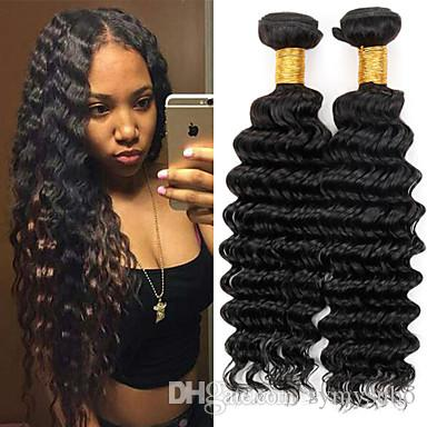 "High Quality 6A Brazilian Human Hair Weave 10-30"" Remy Virgin Deep Wave Hair Extension Double Weft Hair"
