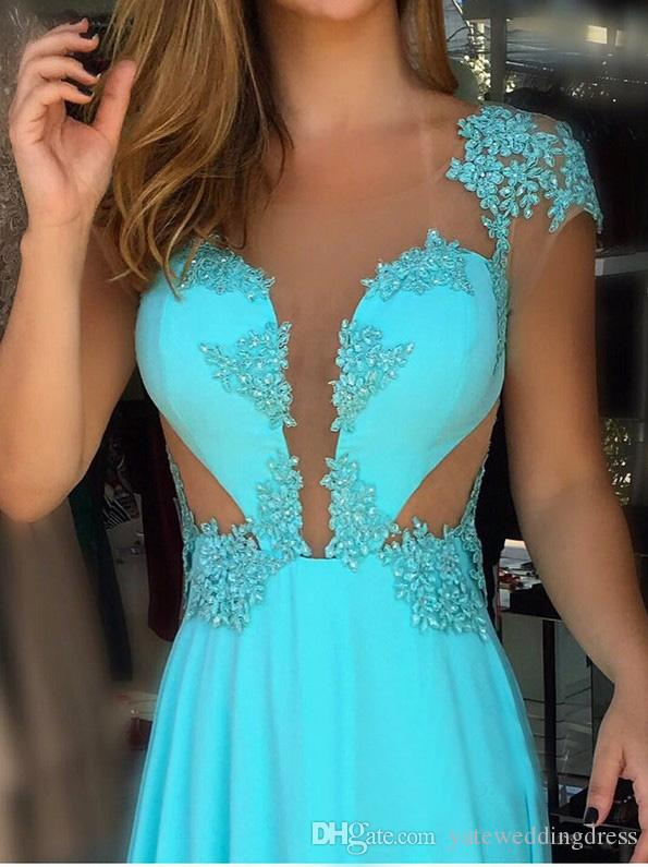 Turquoise Evening Dresses 2018 Jewel Sheer Neck Short Capped Sleeves Prom Gown Sexy A-Line Back Zipper Ruffle Floor Length Party Dresses
